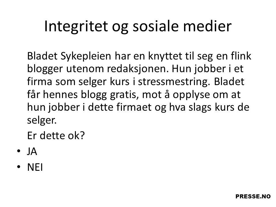 Integritet og sosiale medier Bladet Sykepleien har en knyttet til seg en flink blogger utenom redaksjonen. Hun jobber i et firma som selger kurs i str
