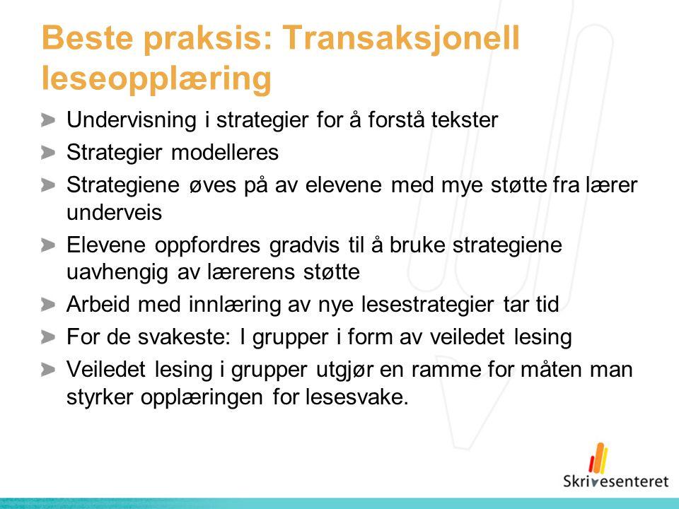 Beste praksis: Transaksjonell leseopplæring Undervisning i strategier for å forstå tekster Strategier modelleres Strategiene øves på av elevene med my