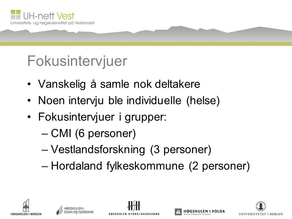 Fokusintervjuer •Vanskelig å samle nok deltakere •Noen intervju ble individuelle (helse) •Fokusintervjuer i grupper: –CMI (6 personer) –Vestlandsforskning (3 personer) –Hordaland fylkeskommune (2 personer)
