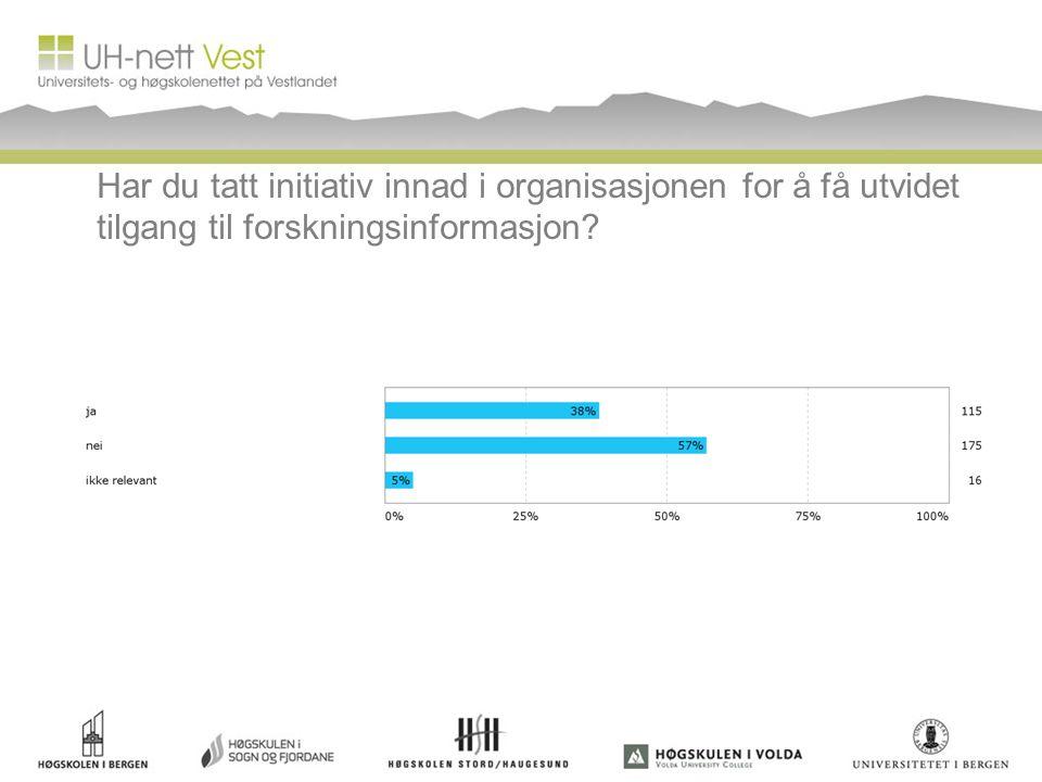 Har du tatt initiativ innad i organisasjonen for å få utvidet tilgang til forskningsinformasjon