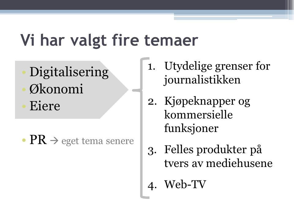 Vi har valgt fire temaer •Digitalisering •Økonomi •Eiere •PR  eget tema senere 1.Utydelige grenser for journalistikken 2.Kjøpeknapper og kommersielle funksjoner 3.Felles produkter på tvers av mediehusene 4.Web-TV