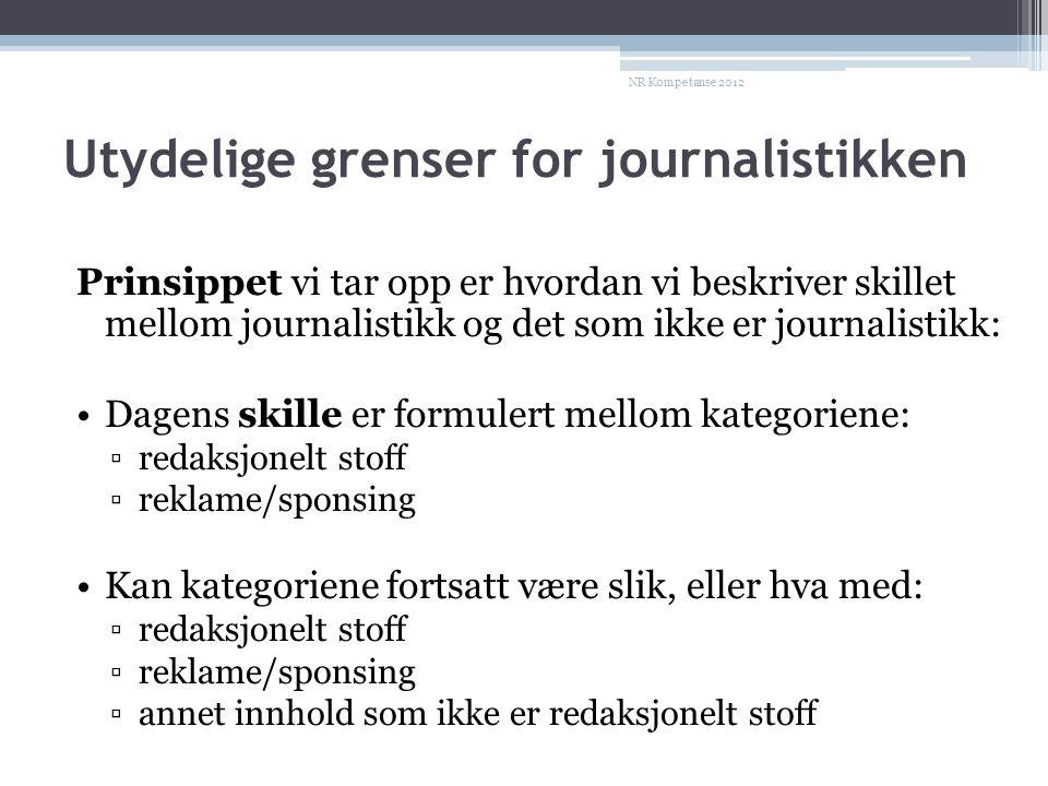Utydelige grenser for journalistikken Prinsippet vi tar opp er hvordan vi beskriver skillet mellom journalistikk og det som ikke er journalistikk: •Dagens skille er formulert mellom kategoriene: ▫redaksjonelt stoff ▫reklame/sponsing •Kan kategoriene fortsatt være slik, eller hva med: ▫redaksjonelt stoff ▫reklame/sponsing ▫annet innhold som ikke er redaksjonelt stoff NR Kompetanse 2012