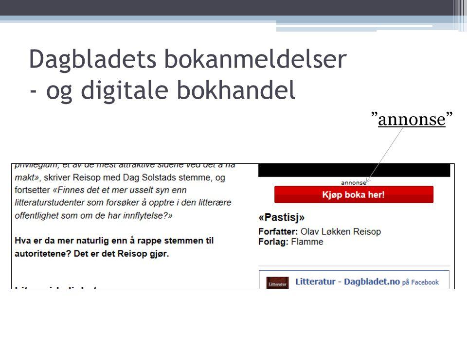 """Dagbladets bokanmeldelser - og digitale bokhandel """"annonse"""""""