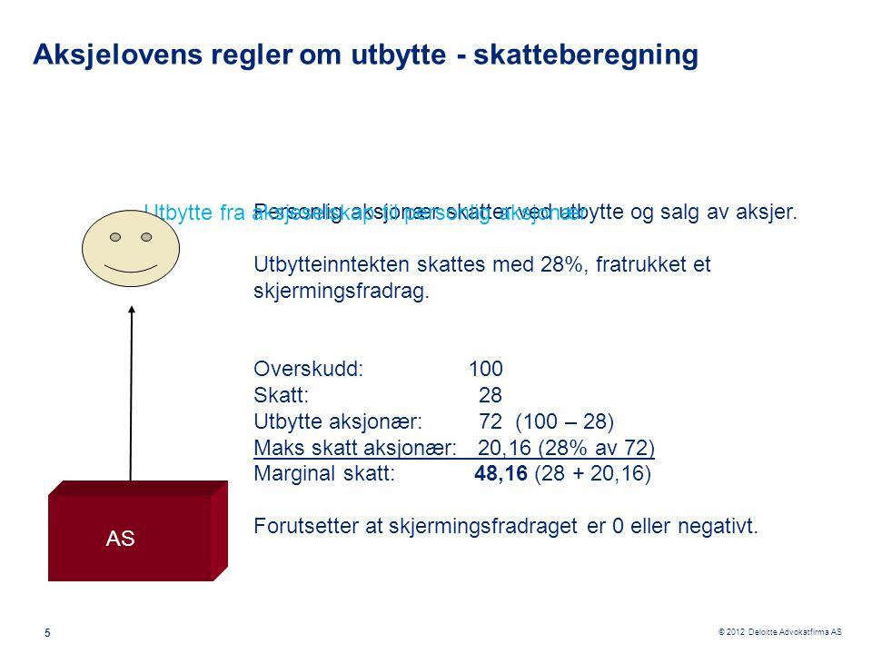 © 2012 Deloitte Advokatfirma AS 5 Personlig aksjonær skatter ved utbytte og salg av aksjer. Utbytteinntekten skattes med 28%, fratrukket et skjermings