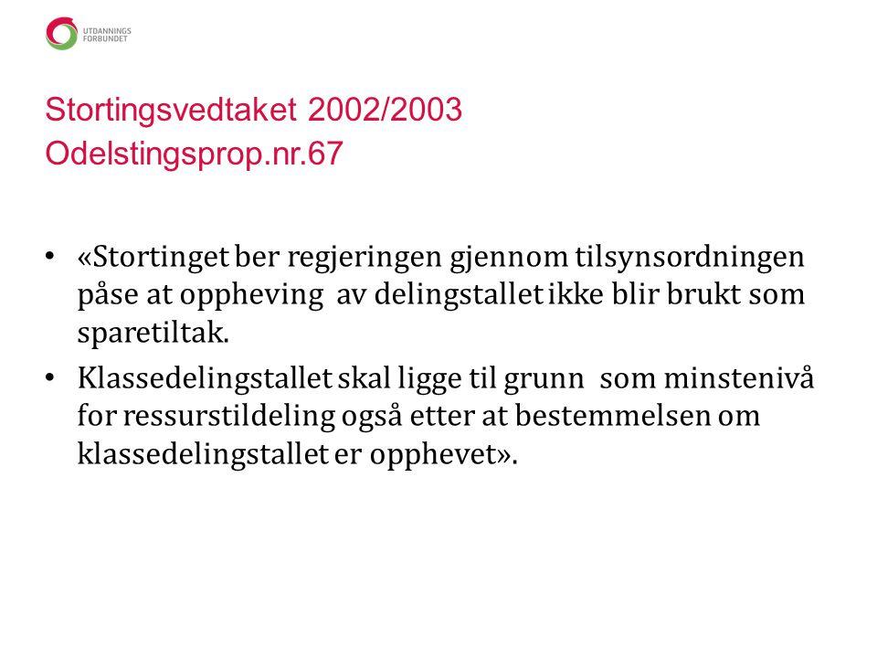 Stortingsvedtaket 2002/2003 Odelstingsprop.nr.67 • «Stortinget ber regjeringen gjennom tilsynsordningen påse at oppheving av delingstallet ikke blir brukt som sparetiltak.