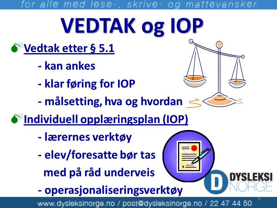 VEDTAK og IOP  Vedtak etter § 5.1 - kan ankes - klar føring for IOP - målsetting, hva og hvordan  Individuell opplæringsplan (IOP) - lærernes verktø