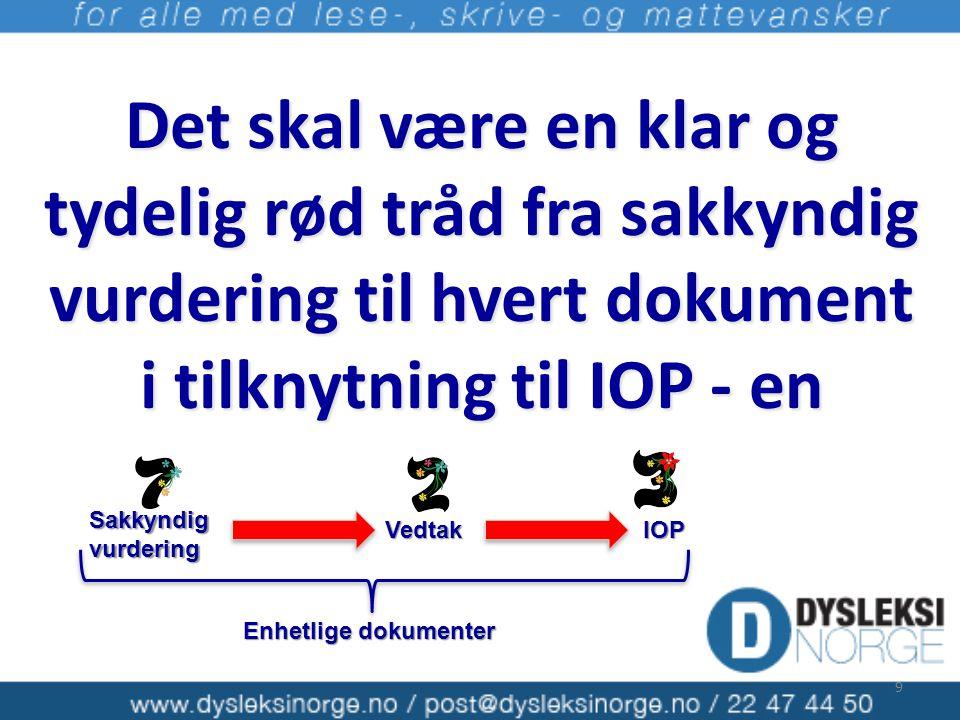 Det skal være en klar og tydelig rød tråd fra sakkyndig vurdering til hvert dokument i tilknytning til IOP - en 9 Sakkyndig vurdering VedtakIOP Enhetl