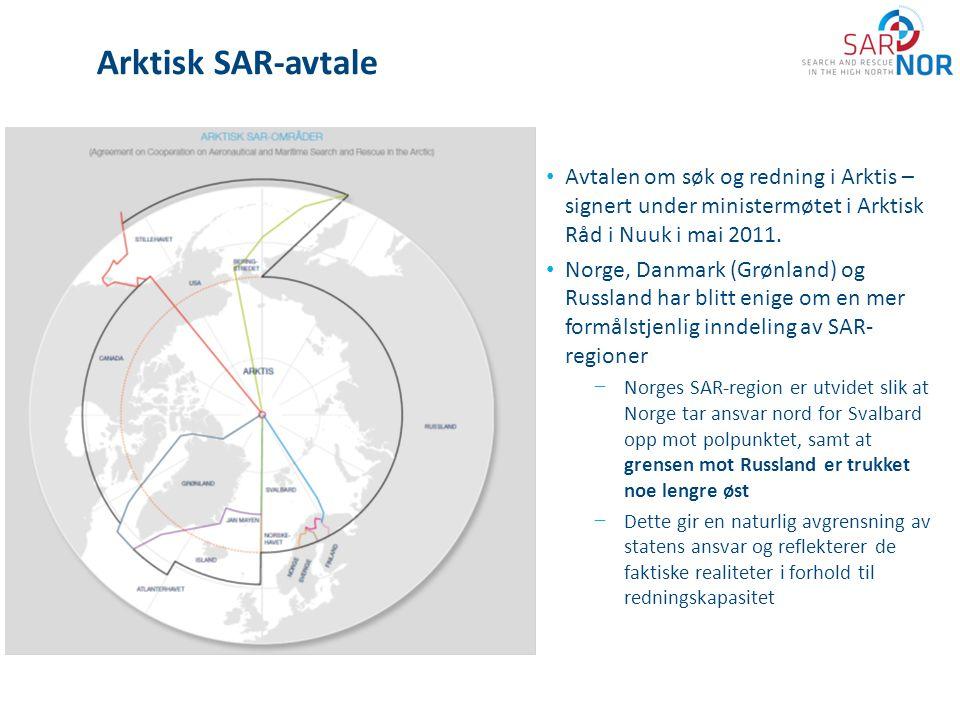 Arktisk SAR-avtale • Avtalen om søk og redning i Arktis – signert under ministermøtet i Arktisk Råd i Nuuk i mai 2011. • Norge, Danmark (Grønland) og
