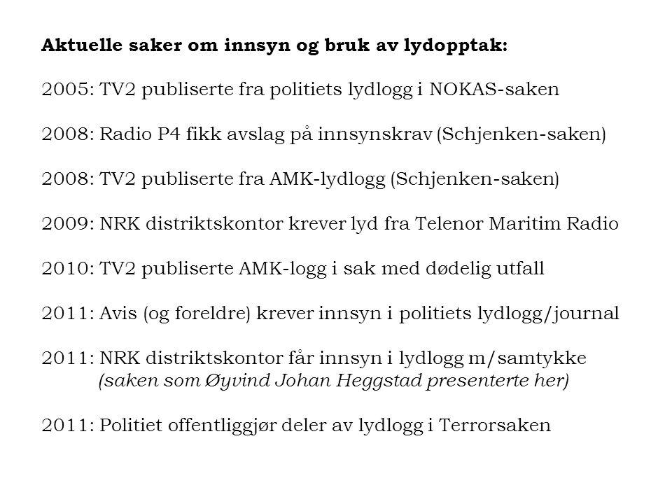Aktuelle saker om innsyn og bruk av lydopptak: 2005: TV2 publiserte fra politiets lydlogg i NOKAS-saken 2008: Radio P4 fikk avslag på innsynskrav (Sch