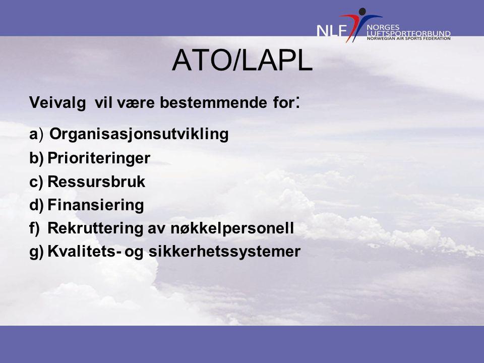 ATO/LAPL Veivalg vil være bestemmende for : a) Organisasjonsutvikling b)Prioriteringer c)Ressursbruk d)Finansiering f)Rekruttering av nøkkelpersonell