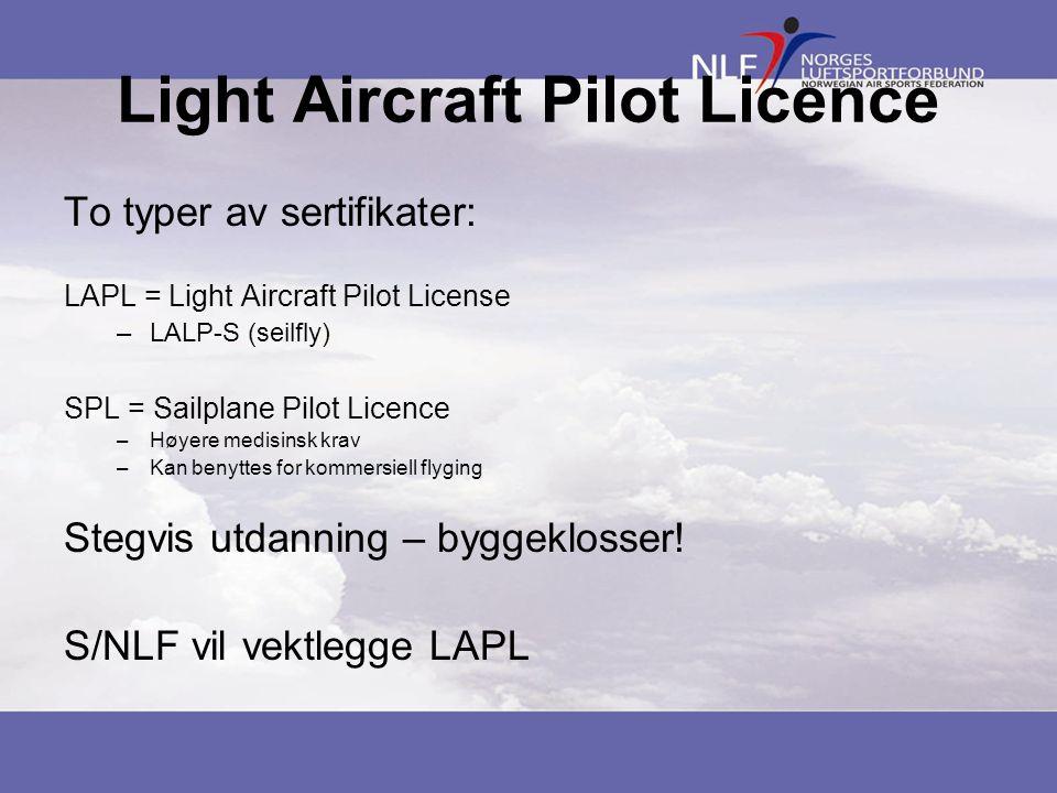 Light Aircraft Pilot Licence To typer av sertifikater: LAPL = Light Aircraft Pilot License –LALP-S (seilfly) SPL = Sailplane Pilot Licence –Høyere med