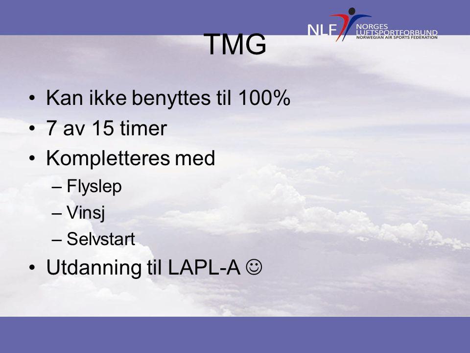 TMG •Kan ikke benyttes til 100% •7 av 15 timer •Kompletteres med –Flyslep –Vinsj –Selvstart •Utdanning til LAPL-A 