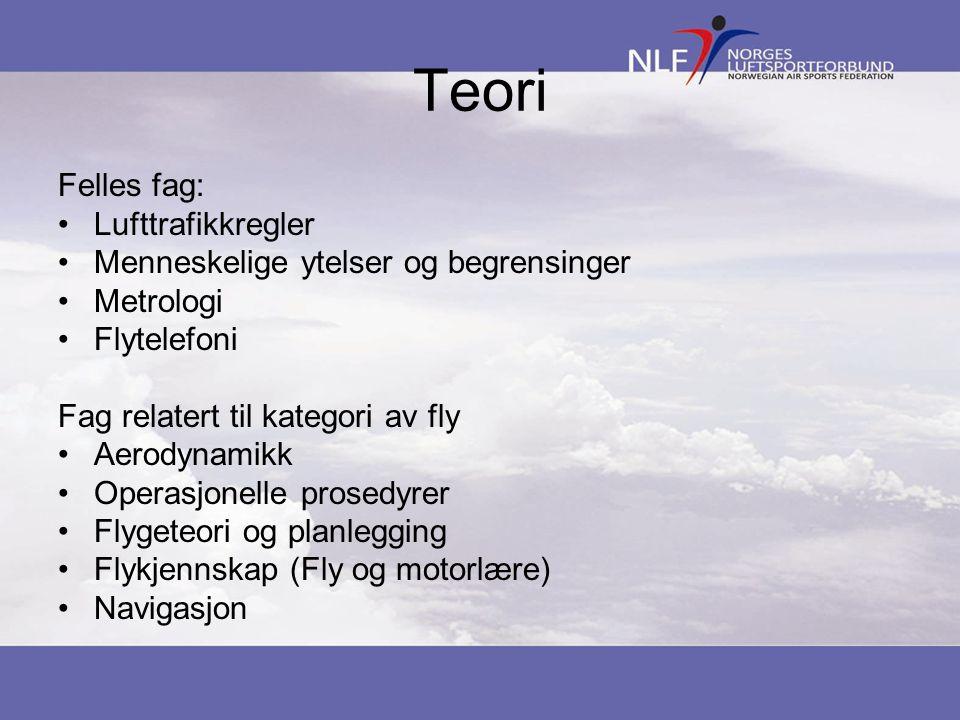 Teori Felles fag: •Lufttrafikkregler •Menneskelige ytelser og begrensinger •Metrologi •Flytelefoni Fag relatert til kategori av fly •Aerodynamikk •Ope