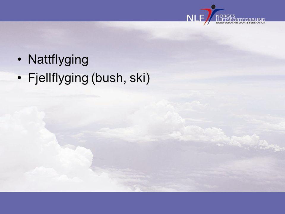 •Nattflyging •Fjellflyging (bush, ski)
