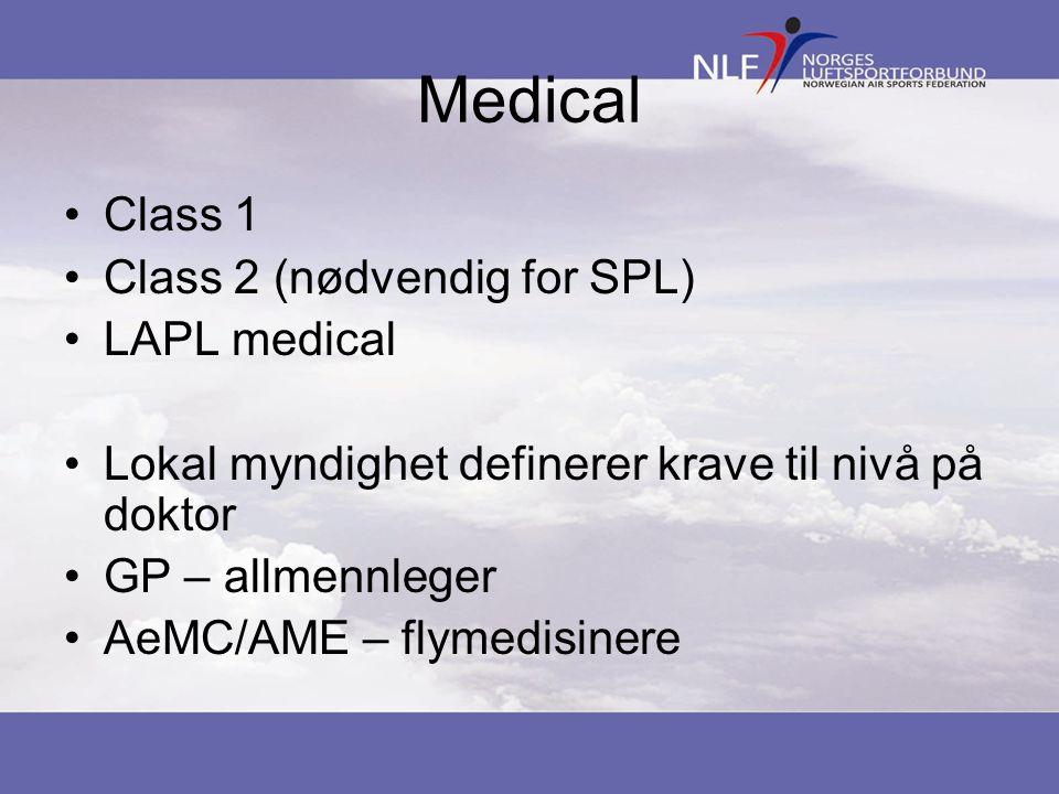 Medical •Class 1 •Class 2 (nødvendig for SPL) •LAPL medical •Lokal myndighet definerer krave til nivå på doktor •GP – allmennleger •AeMC/AME – flymedi