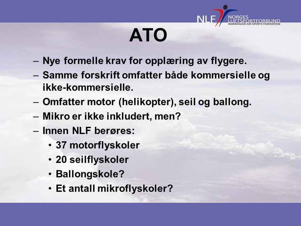 ATO –Nye formelle krav for opplæring av flygere. –Samme forskrift omfatter både kommersielle og ikke-kommersielle. –Omfatter motor (helikopter), seil