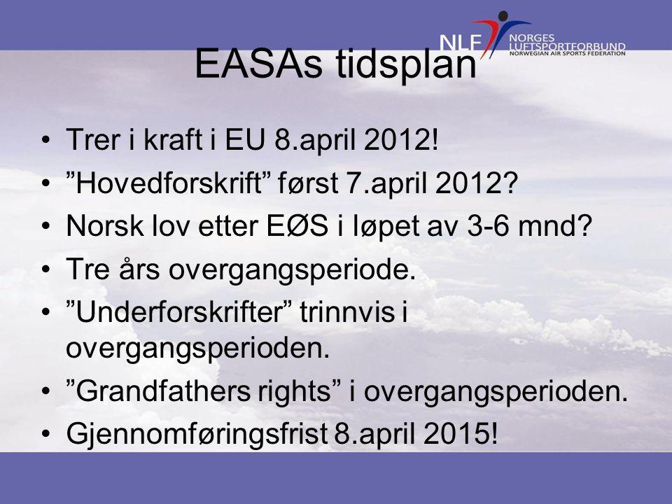 """EASAs tidsplan •Trer i kraft i EU 8.april 2012! •""""Hovedforskrift"""" først 7.april 2012? •Norsk lov etter EØS i løpet av 3-6 mnd? •Tre års overgangsperio"""