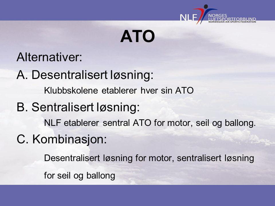 ATO Alternativer: A. Desentralisert løsning: Klubbskolene etablerer hver sin ATO B. Sentralisert løsning: NLF etablerer sentral ATO for motor, seil og