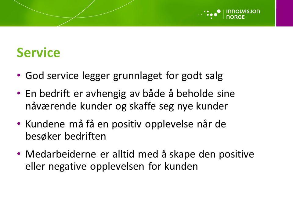 Service • God service legger grunnlaget for godt salg • En bedrift er avhengig av både å beholde sine nåværende kunder og skaffe seg nye kunder • Kund