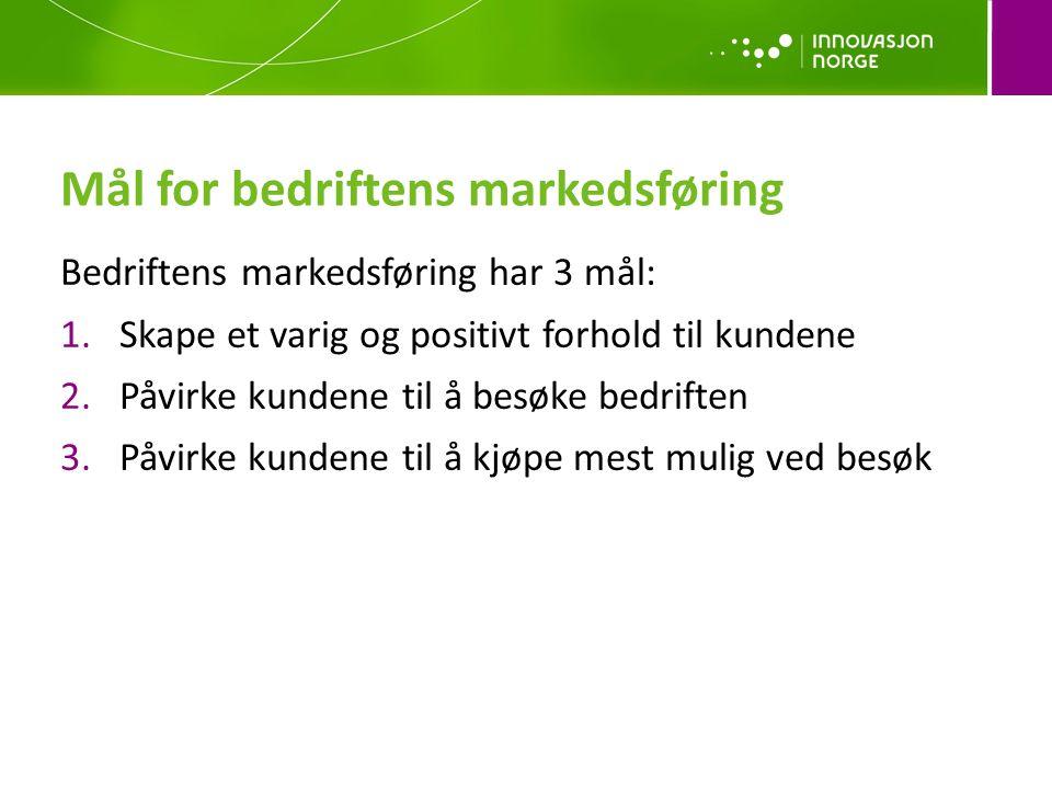 Mål for bedriftens markedsføring Bedriftens markedsføring har 3 mål: 1.Skape et varig og positivt forhold til kundene 2.Påvirke kundene til å besøke b