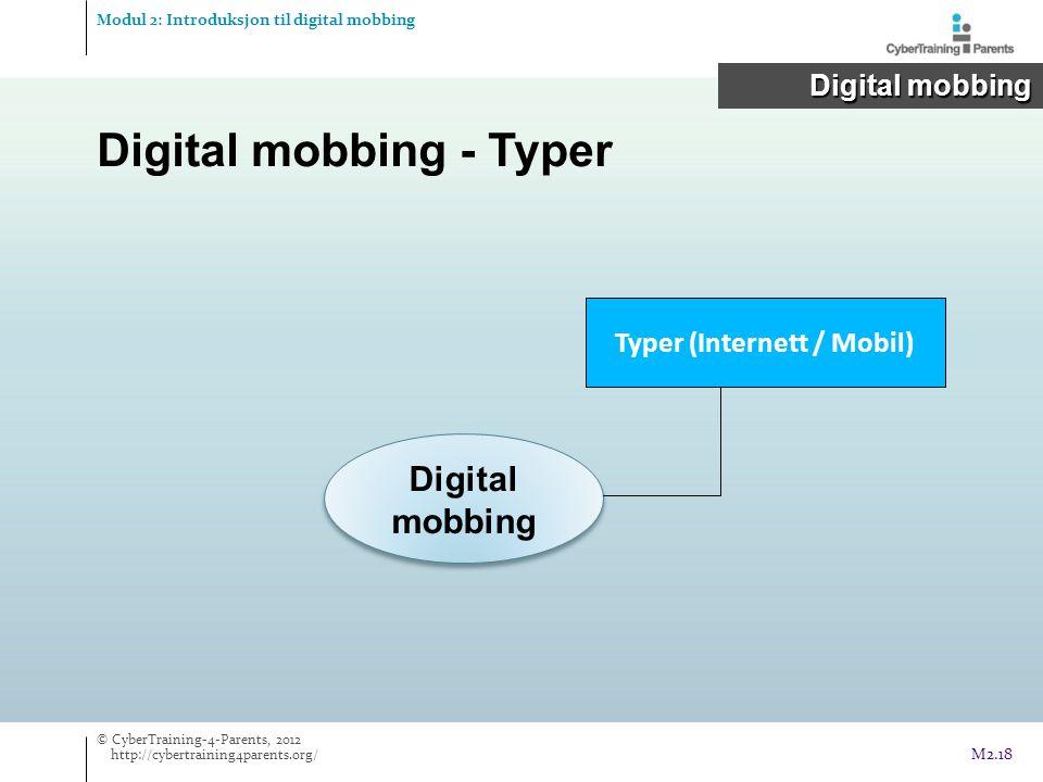 Digital mobbing - Typer Digital mobbing Typer (Internett / Mobil) Modul 2: Introduksjon til digital mobbing Digital mobbing Digital mobbing © CyberTraining-4-Parents, 2012 http://cybertraining4parents.org/ M2.18
