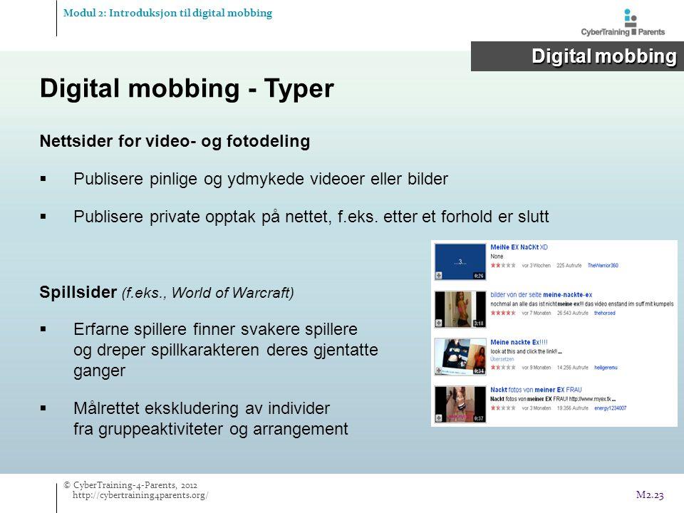 Nettsider for video- og fotodeling  Publisere pinlige og ydmykede videoer eller bilder  Publisere private opptak på nettet, f.eks. etter et forhold