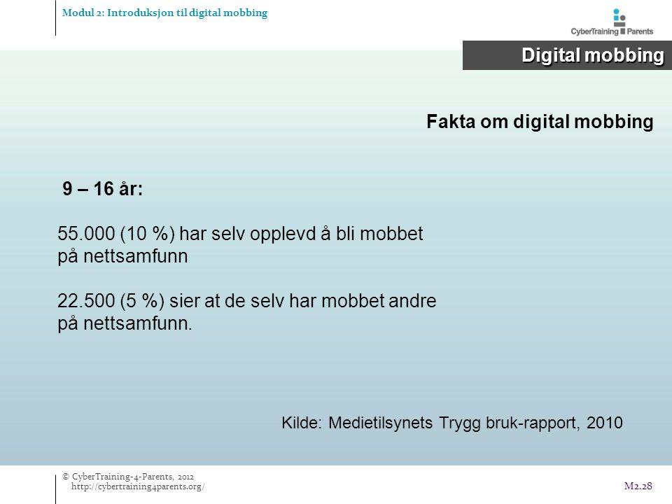 Fakta om digital mobbing Modul 2: Introduksjon til digital mobbing Digital mobbing Digital mobbing Kilde: Medietilsynets Trygg bruk-rapport, 2010 © CyberTraining-4-Parents, 2012 http://cybertraining4parents.org/ M2.28 9 – 16 år: 55.000 (10 %) har selv opplevd å bli mobbet på nettsamfunn 22.500 (5 %) sier at de selv har mobbet andre på nettsamfunn.