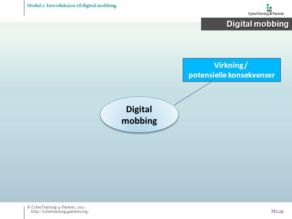 Digital mobbing Virkning / potensielle konsekvenser Modul 2: Introduksjon til digital mobbing Digital mobbing Digital mobbing © CyberTraining-4-Parents, 2012 http://cybertraining4parents.org/ M2.29