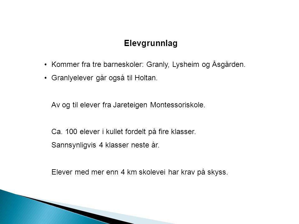 Elevgrunnlag •Kommer fra tre barneskoler: Granly, Lysheim og Åsgården. •Granlyelever går også til Holtan. Av og til elever fra Jareteigen Montessorisk