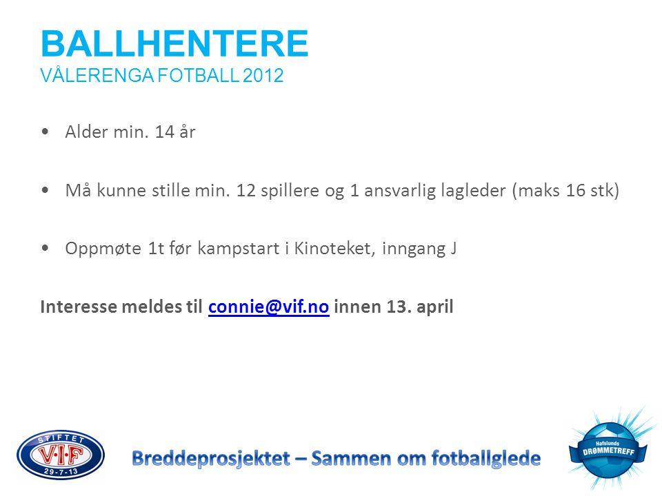 BALLHENTERE VÅLERENGA FOTBALL 2012 •Alder min. 14 år •Må kunne stille min. 12 spillere og 1 ansvarlig lagleder (maks 16 stk) •Oppmøte 1t før kampstart