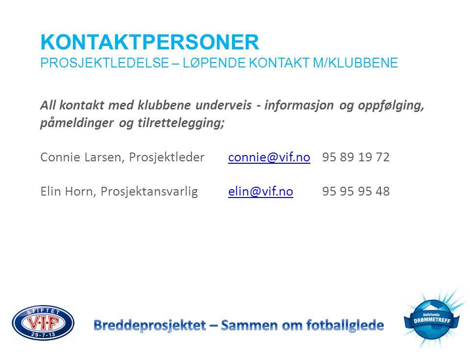 KONTAKTPERSONER PROSJEKTLEDELSE – LØPENDE KONTAKT M/KLUBBENE All kontakt med klubbene underveis - informasjon og oppfølging, påmeldinger og tilrettele