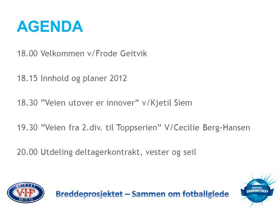 """AGENDA 18.00 Velkommen v/Frode Geitvik 18.15 Innhold og planer 2012 18.30 """"Veien utover er innover"""" v/Kjetil Siem 19.30 """"Veien fra 2.div. til Toppseri"""