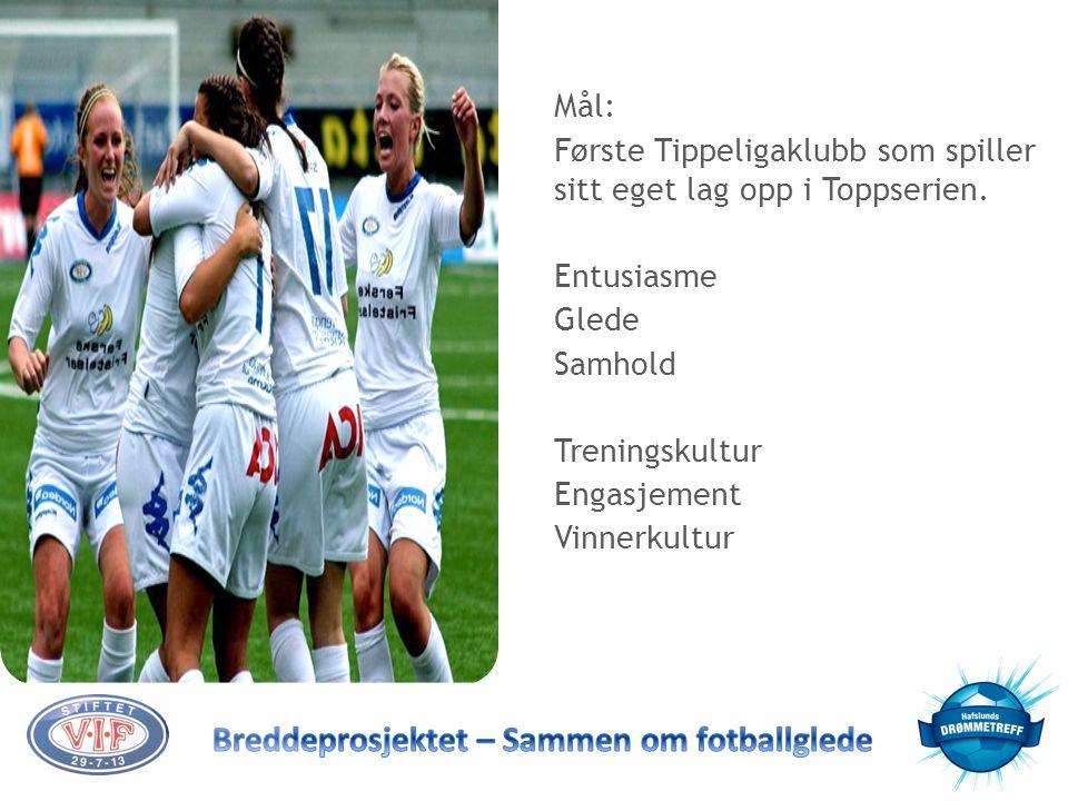 Mål: Første Tippeligaklubb som spiller sitt eget lag opp i Toppserien. Entusiasme Glede Samhold Treningskultur Engasjement Vinnerkultur