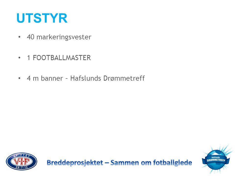 UTSTYR • 40 markeringsvester • 1 FOOTBALLMASTER • 4 m banner – Hafslunds Drømmetreff