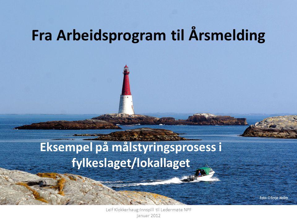 Fra Arbeidsprogram til Årsmelding Eksempel på målstyringsprosess i fylkeslaget/lokallaget Leif Klokkerhaug:Innspill til Ledermøte NPF januar 2012