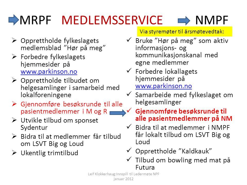 MRPF MEDLEMSSERVICE NMPF  Bruke Hør på meg som aktiv informasjons- og kommunikasjonskanal med egne medlemmer  Forbedre lokallagets hjemmesider på www.parkinson.no www.parkinson.no  Samarbeide med fylkeslaget om helgesamlinger  Gjennomføre besøksrunde til alle pasientmedlemmer på NM  Bidra til at medlemmer i NMPF får lokalt tilbud om LSVT Big og Loud  Opprettholde Kaldkauk  Tilbud om bowling med mat på Futura  Opprettholde fylkeslagets medlemsblad Hør på meg  Forbedre fylkeslagets hjemmesider på www.parkinson.no www.parkinson.no  Opprettholde tilbudet om helgesamlinger i samarbeid med lokalforeningene  Gjennomføre besøksrunde til alle pasientmedlemmer i M og R  Utvikle tilbud om sponset Sydentur  Bidra til at medlemmer får tilbud om LSVT Big og Loud  Ukentlig trimtilbud Leif Klokkerhaug:Innspill til Ledermøte NPF januar 2012 Via styremøter til årsmøtevedtak: