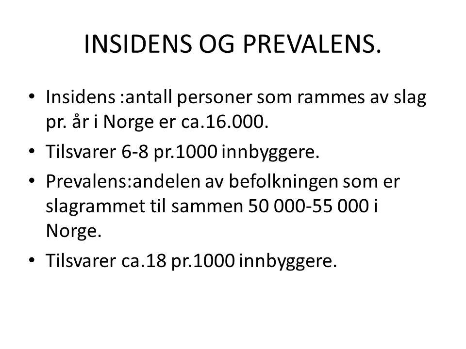 INSIDENS OG PREVALENS. • Insidens :antall personer som rammes av slag pr. år i Norge er ca.16.000. • Tilsvarer 6-8 pr.1000 innbyggere. • Prevalens:and