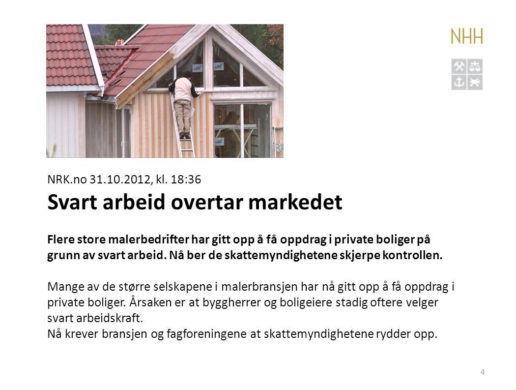 4 NRK.no 31.10.2012, kl. 18:36 Svart arbeid overtar markedet Flere store malerbedrifter har gitt opp å få oppdrag i private boliger på grunn av svart