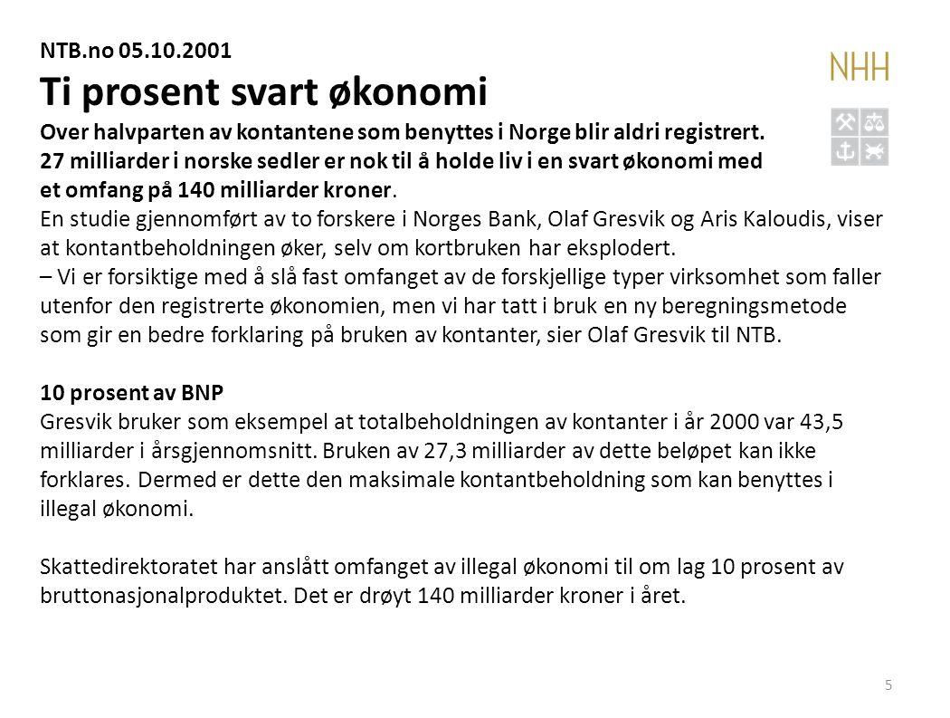 5 NTB.no 05.10.2001 Ti prosent svart økonomi Over halvparten av kontantene som benyttes i Norge blir aldri registrert. 27 milliarder i norske sedler e