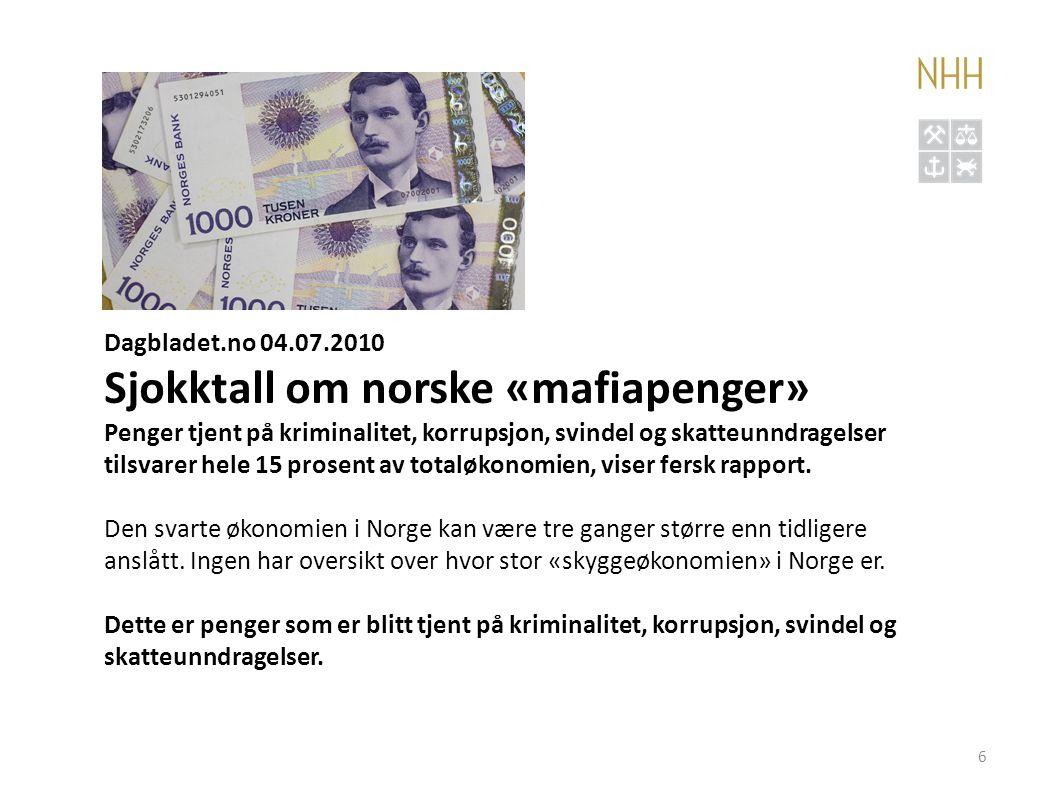 Konklusjoner • Svart økonomi utgjør kanskje 10-15 prosent av norsk økonomi • Vi ligger dermed klart over gjennomsnittet for nord- og vesteuropeiske land • Ikke sammenheng mellom korrupsjon og svart økonomi.