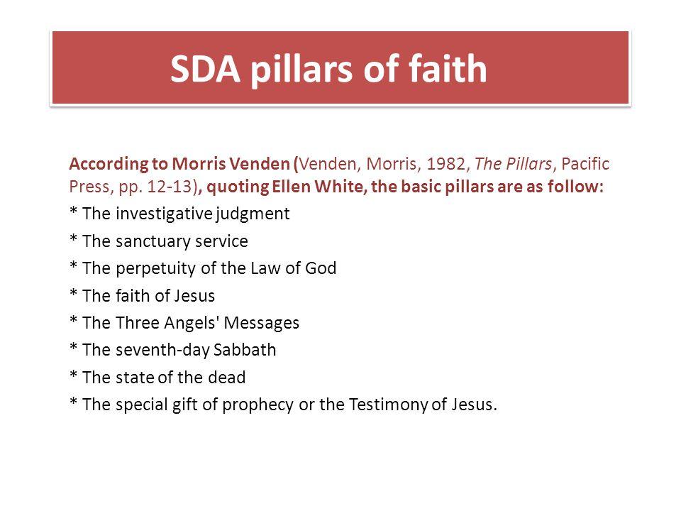 Handbook of SDA theology 1.Gud som skaper 2.Gud som frelser 3.Gud som paktens Gud 4.Gud som gode gavers giver og opprettholder av liv 5.Gud gjør ikke forskjell på folk 6.Gud som fullkommen - helbreder 7.Kristi guddommelighet – sabbatens Herre