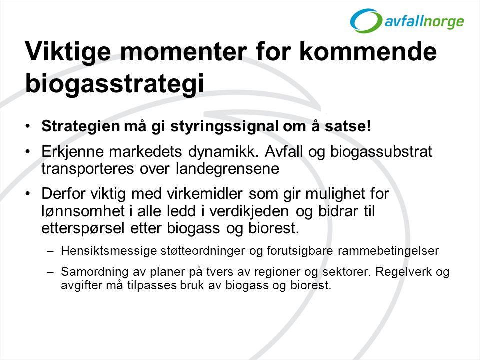 Viktige momenter for kommende biogasstrategi •Strategien må gi styringssignal om å satse! •Erkjenne markedets dynamikk. Avfall og biogassubstrat trans