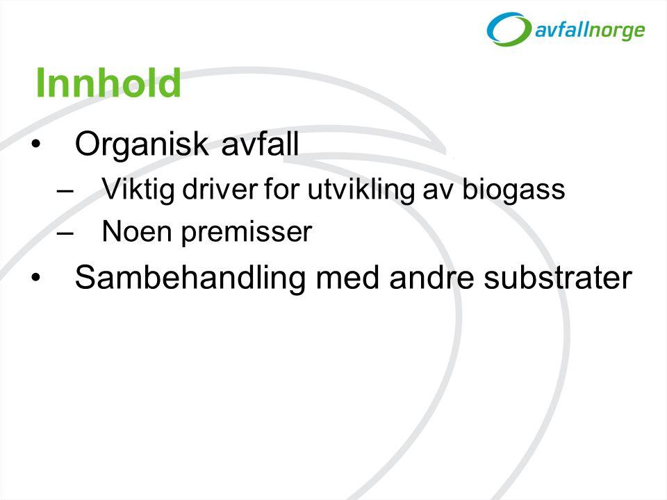 Innhold •Organisk avfall –Viktig driver for utvikling av biogass –Noen premisser •Sambehandling med andre substrater