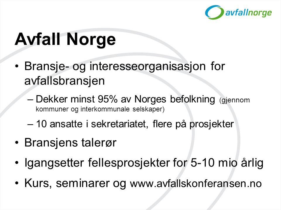 Avfall Norge •Bransje- og interesseorganisasjon for avfallsbransjen –Dekker minst 95% av Norges befolkning ( gjennom kommuner og interkommunale selska