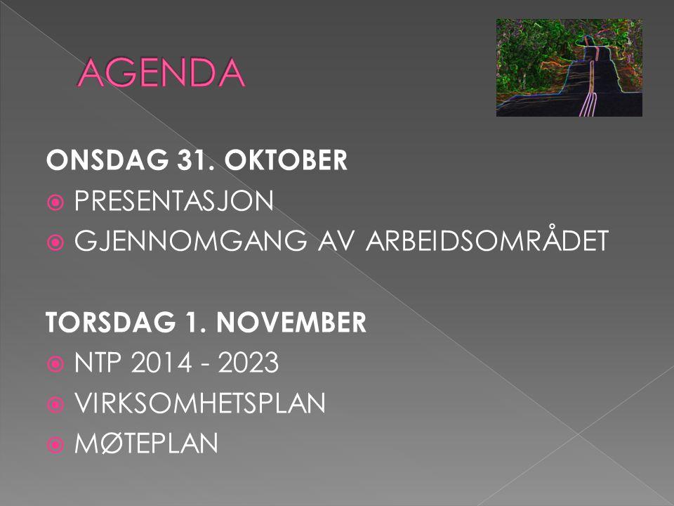 ONSDAG 31. OKTOBER  PRESENTASJON  GJENNOMGANG AV ARBEIDSOMRÅDET TORSDAG 1.