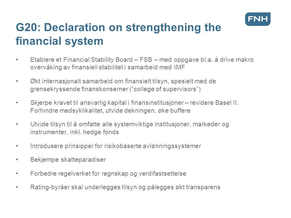 De norske likviditetstiltakene, oktober 2008 •Ikke soliditetsstøtte – men likviditetsstøtte •Ingen subsidiering av bankene •Statsobligasjoner byttes mot OMF (obligasjoner med fortrinnsrett) for inntil 350 milliarder kroner.