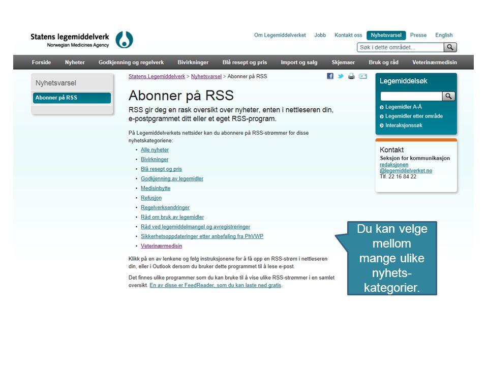 Du kan hente inn en RSS-strøm (feed) på forskjellige måter, både i e-postprogrammer og i ulike nettlesere. Her ser du et eksempel på hvordan du kan få