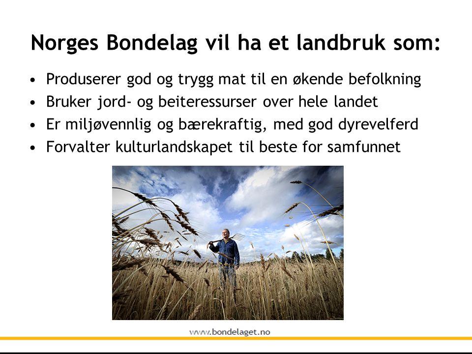 Norges Bondelag vil ha et landbruk som: • Produserer god og trygg mat til en økende befolkning • Bruker jord- og beiteressurser over hele landet • Er miljøvennlig og bærekraftig, med god dyrevelferd • Forvalter kulturlandskapet til beste for samfunnet