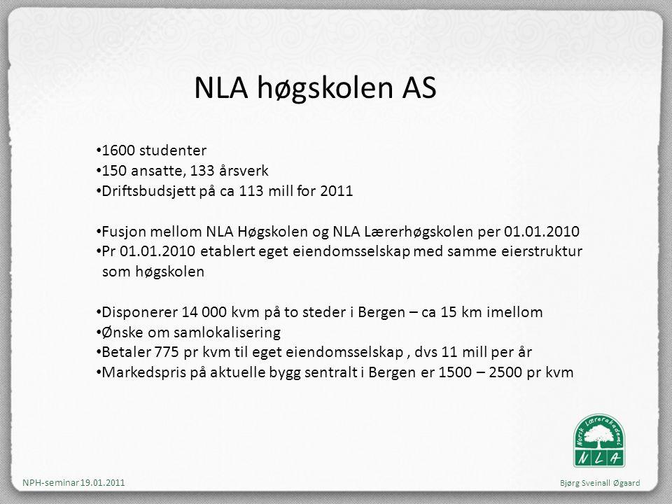 NLA høgskolen AS • 1600 studenter • 150 ansatte, 133 årsverk • Driftsbudsjett på ca 113 mill for 2011 • Fusjon mellom NLA Høgskolen og NLA Lærerhøgsko