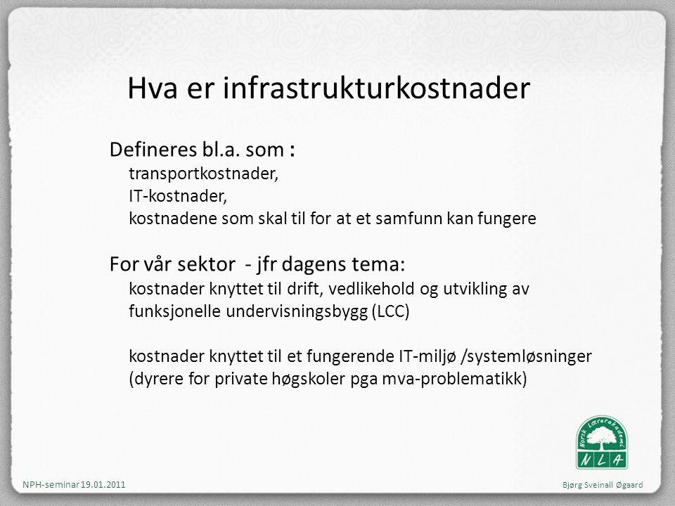 Hva er infrastrukturkostnader Defineres bl.a. som : transportkostnader, IT-kostnader, kostnadene som skal til for at et samfunn kan fungere For vår se